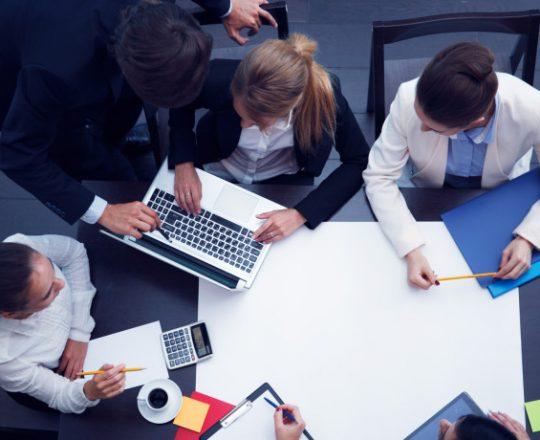 meeting of team of business people